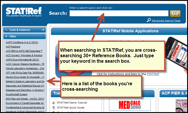 Image of STAT!Ref's homepage. Image states: When Searching in STAT!Ref you are cross-searching over 30 reference books. Just type your keywords in the search box. The left-hand menu gives a list of books that are being cross-searched.