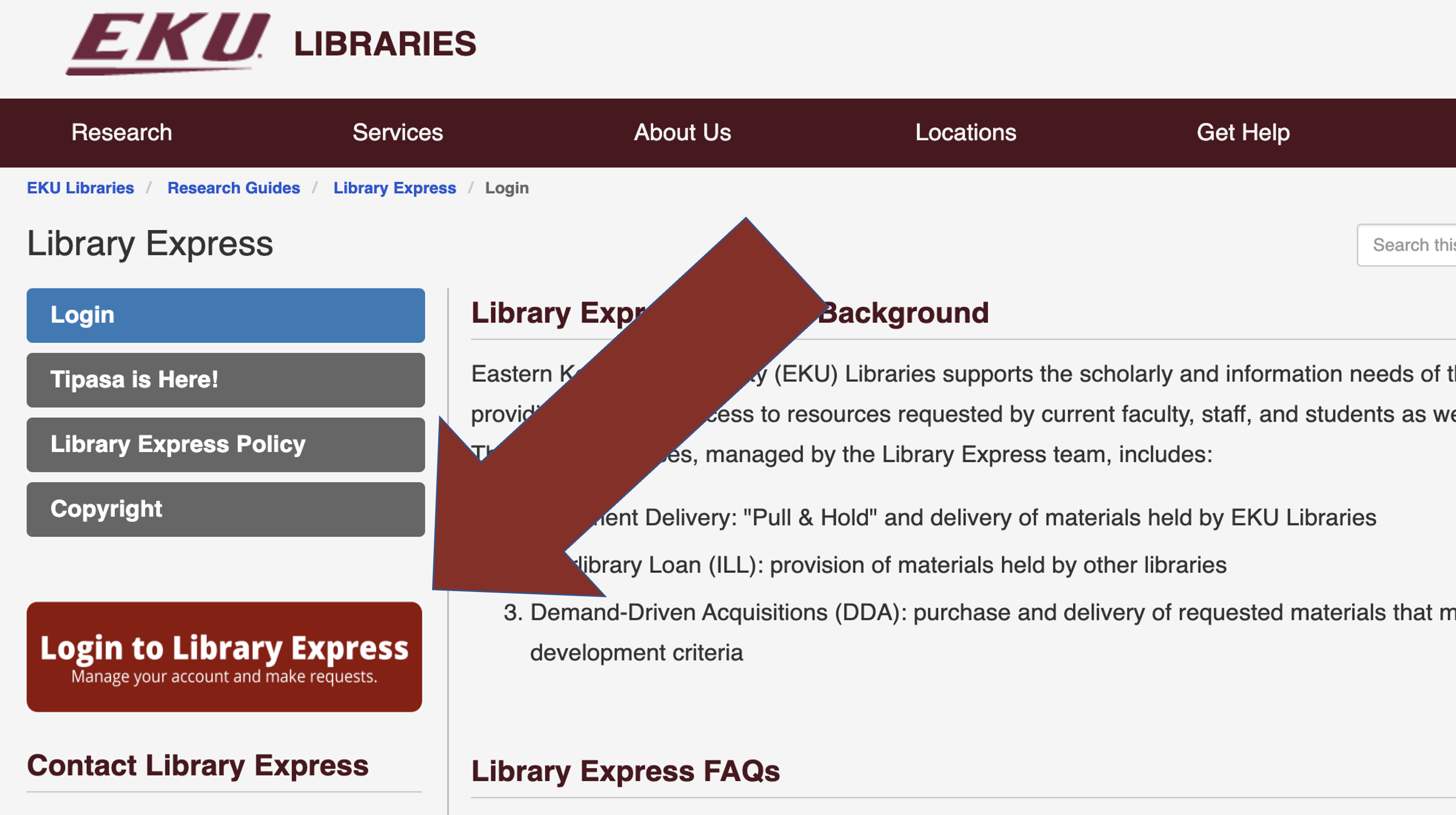 Library Express guidelines page