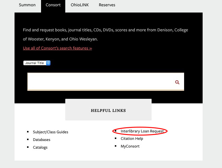 interlibrary loan link on library home page