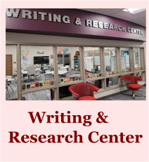 Writing and Research Center banner image and page link