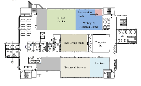 Lower Level map of Nash Library & Student Learning Commons