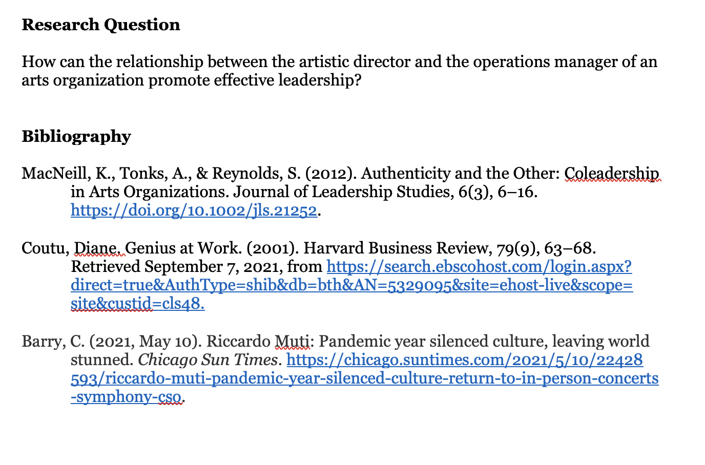 Image of a research question and bibliography
