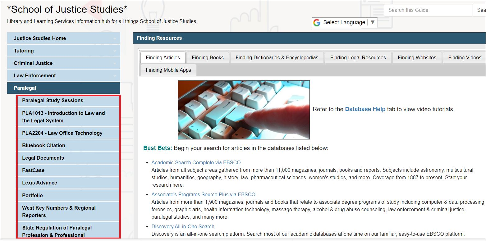 Click on the tabs on the left-hand side for helpful information about the topic, class, or resource.