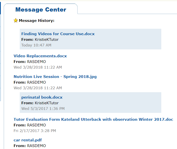 This is the message center.  Here you will find documents tutors send to you.