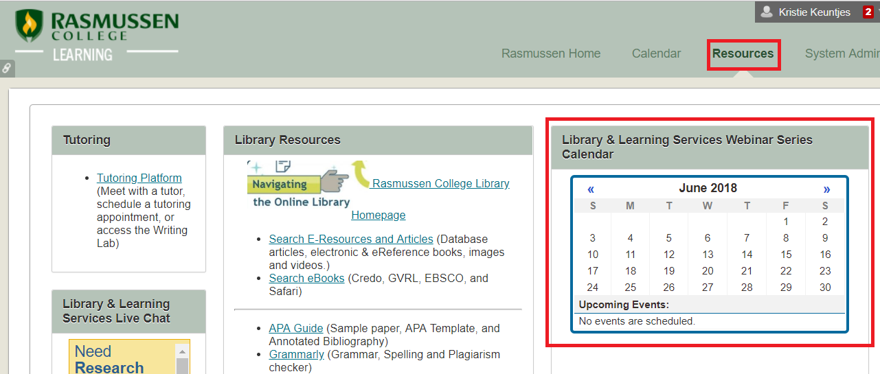 Click on the resources link in your online courses to access the webinar ca