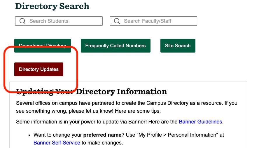 Update your Campus Directory information