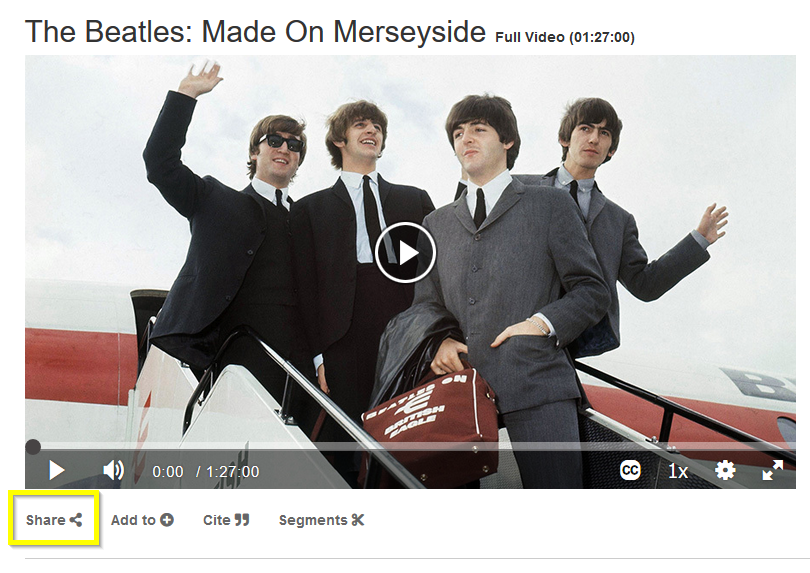 Beatles Made on Merseyside video screenshot with Share option highlighted
