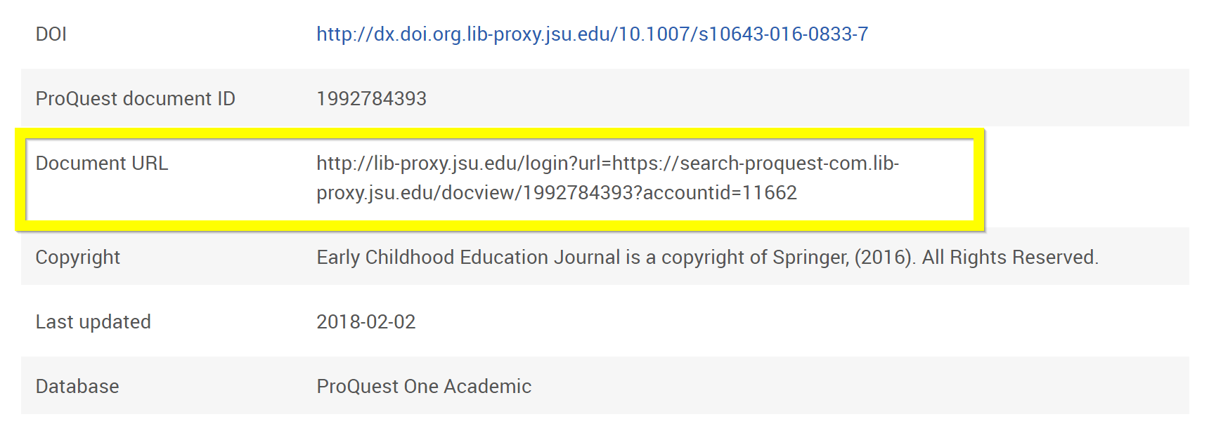 Screenshot of ProQuest Document URL section
