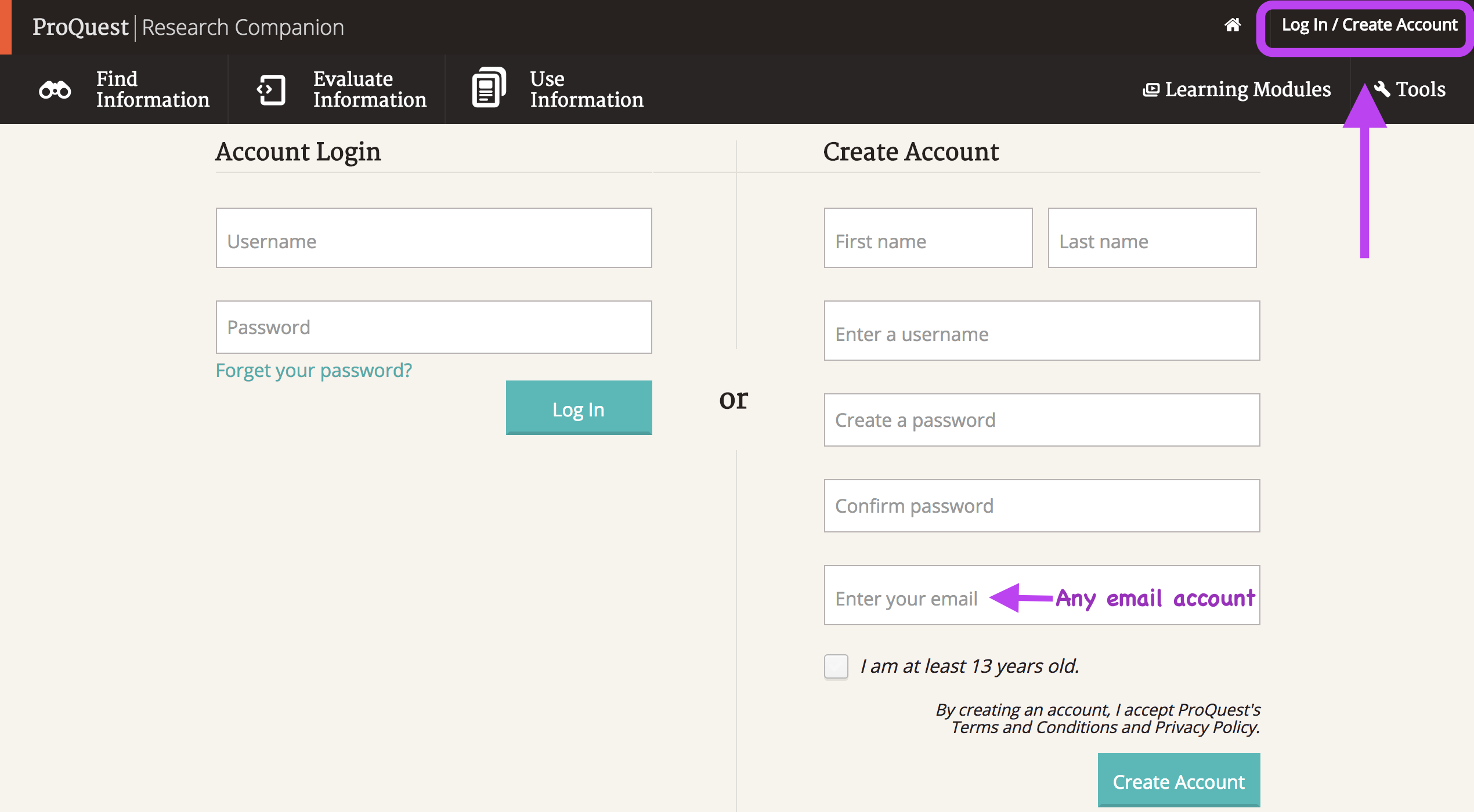 PQRC log in / create account page