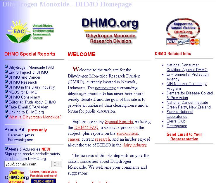 DHMO.org website screen capture