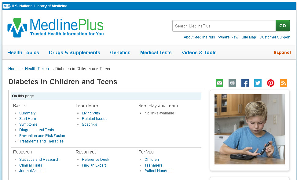 MedlinePlus website screenshot of the page labeled Diabetes in Children and Teens.