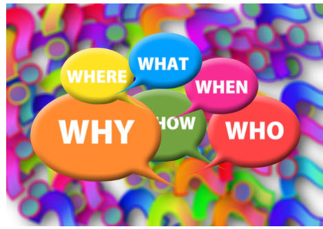 Who what where when why bubbles on a colorful background of question marks.