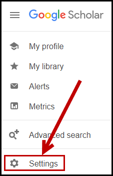 Screenshot depicting where Settings option is in Google Scholar.
