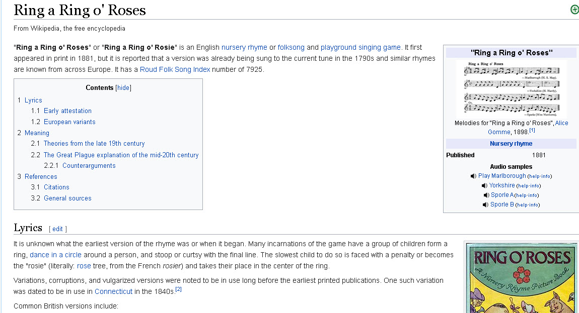 Wiki entry titled Ring a Ring o' Roses which is the history of the song Ring around the roses