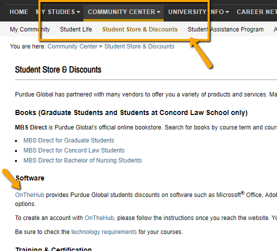 OnTheHub Office 365 Link in Student Store