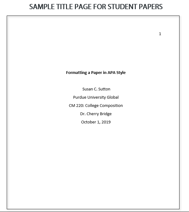 Sample APA 7th edition title page