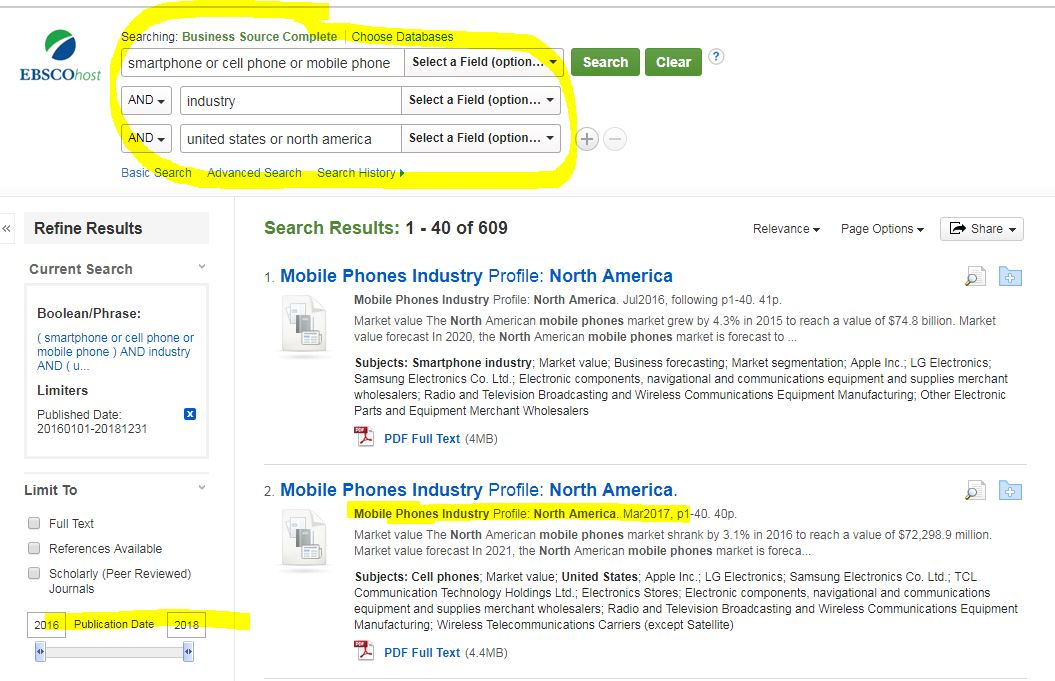 Keyword search to find mobile phone industry profile for North America