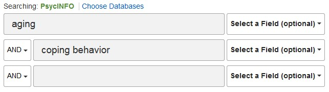 Sample search in the PsycInfo database.