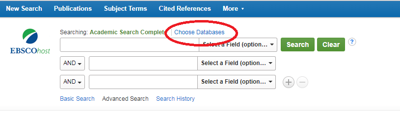 "A screenshot of the search bar in Academic Search Complete, with the ""Choose Databases"" option highlighted."