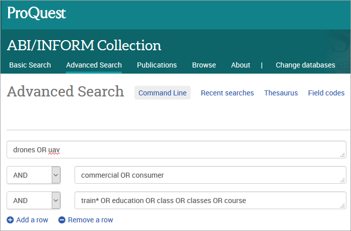 Search strategy in ABI-Inform Collection database