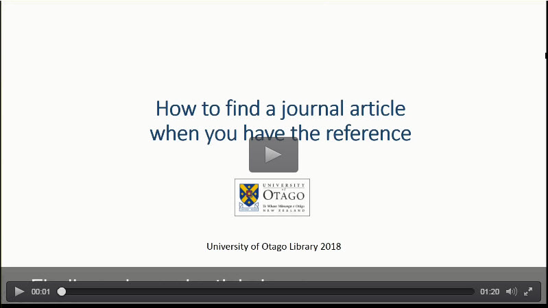 Find a Specific Article | University of Otago Library