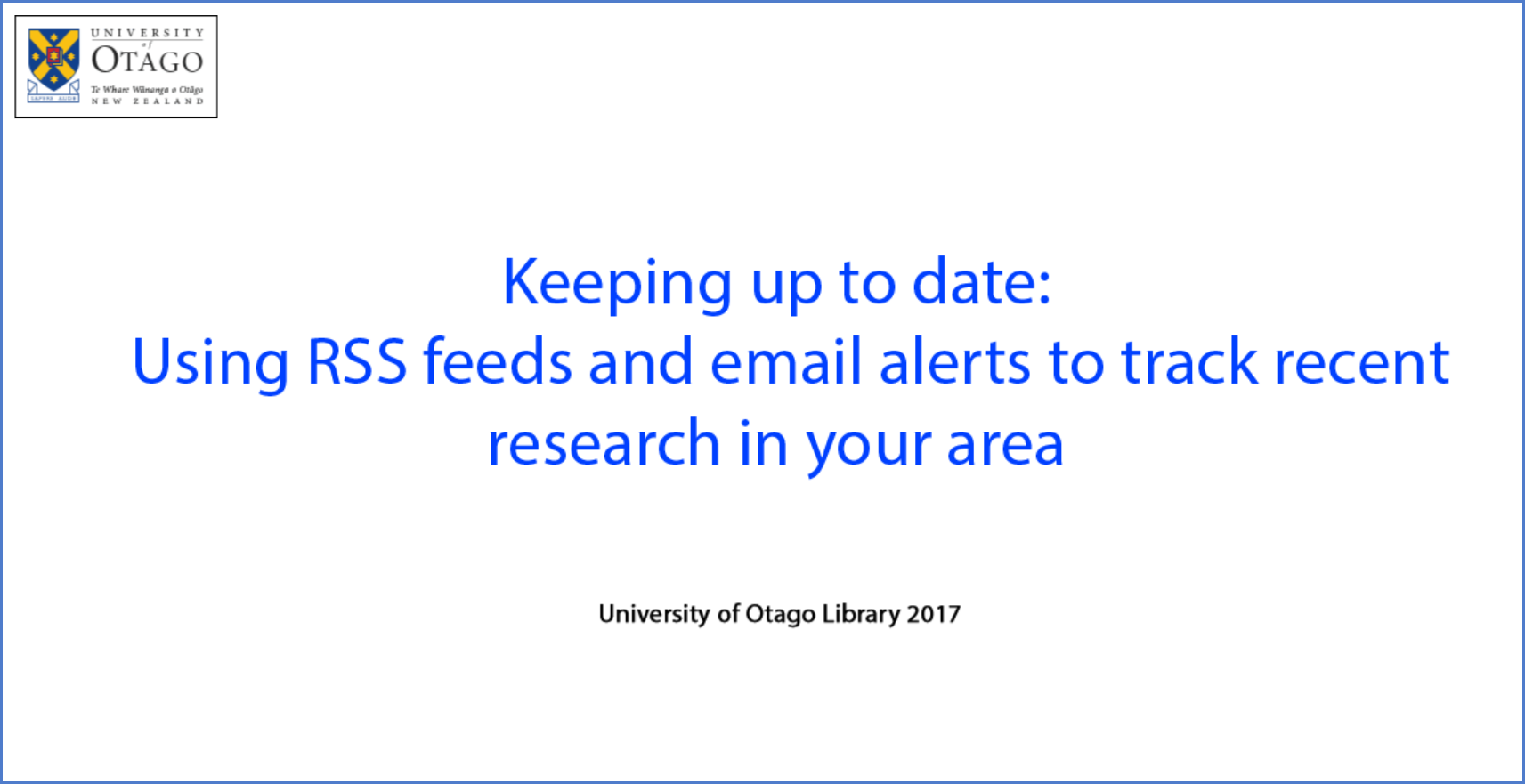 Keeping up to date | OU Library