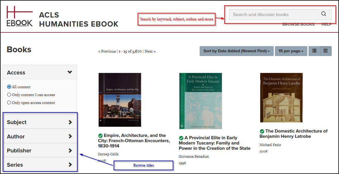 ACLS Ebooks search screen