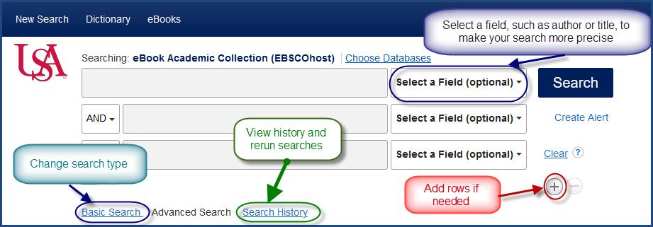 EBSCO Ebook search screen