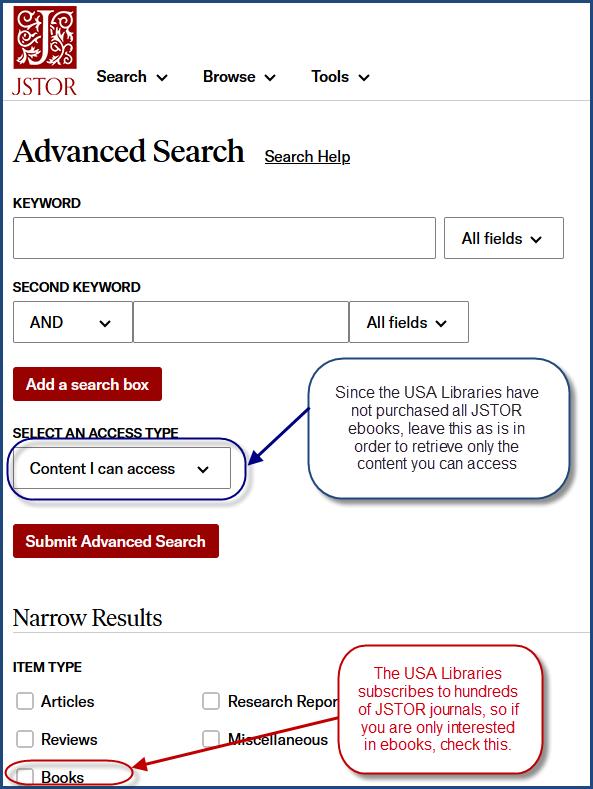 JSTOR search screen