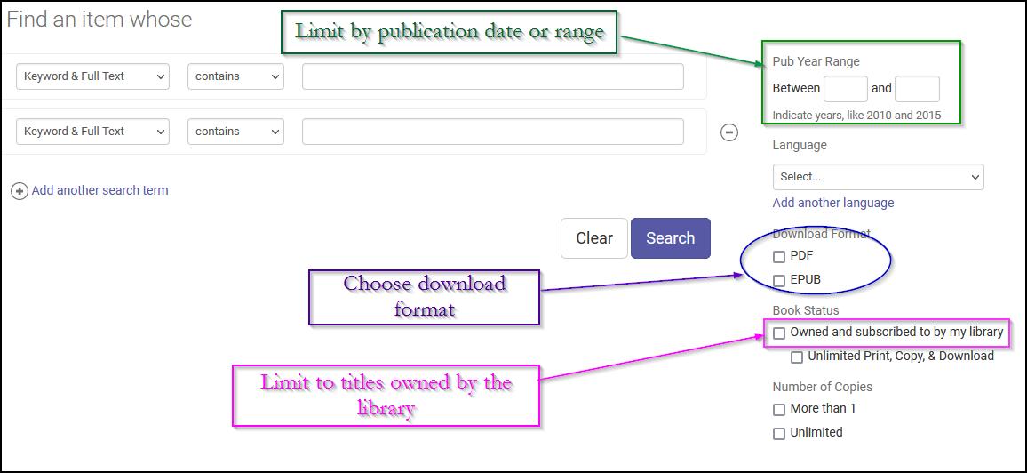 ProQuest ebook Central advanced search