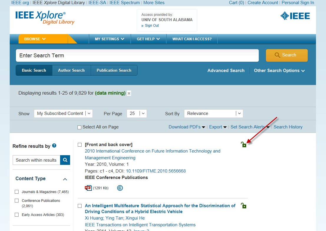 Screenshot from IEEE Xplore results page showing a green unlock button indicating available fulltext