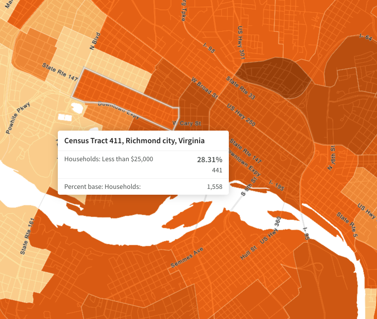 map of census tract 411, Richmond, VA