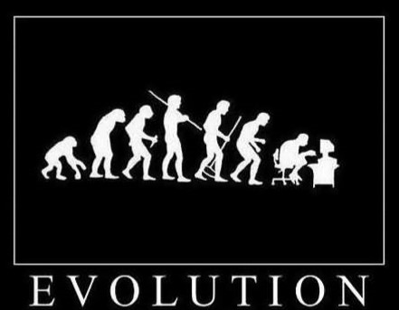 picture of evolution leading to computer use