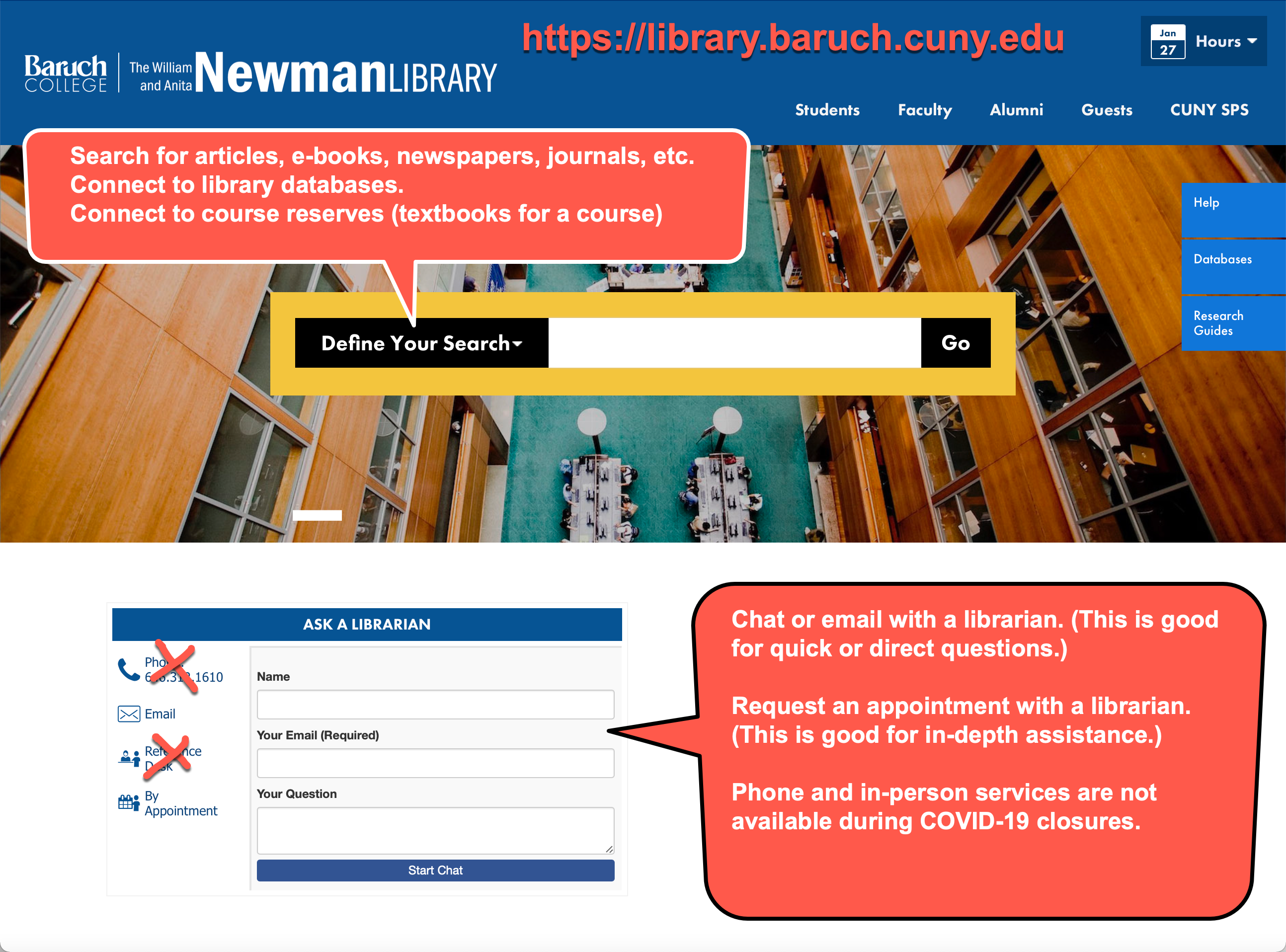 Screenshot of Newman Library homepage