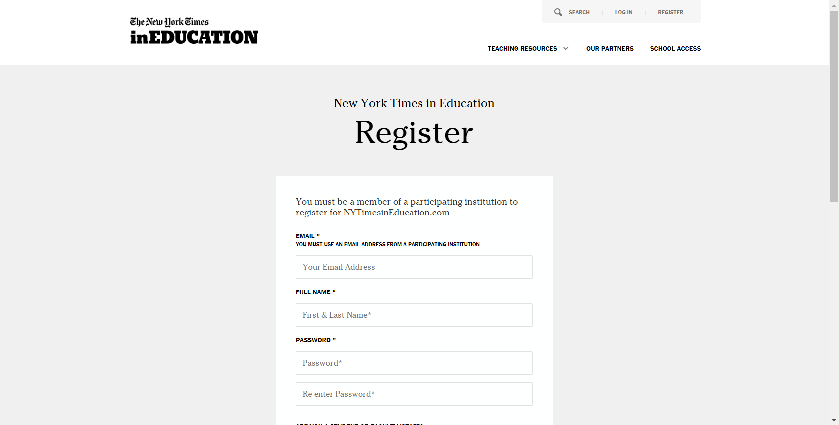NYT InEducation registration screen 1