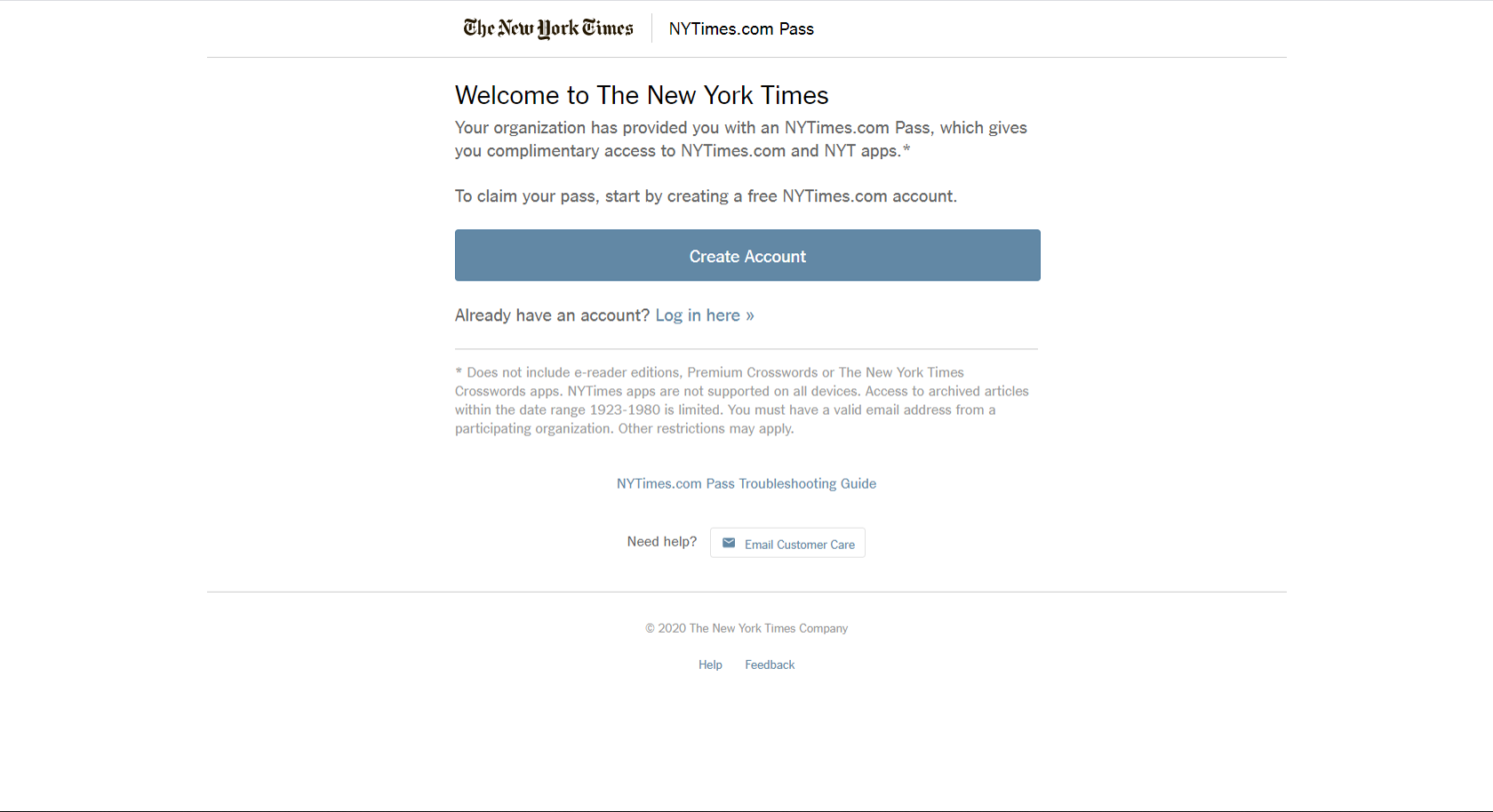 NYT registration screen 0