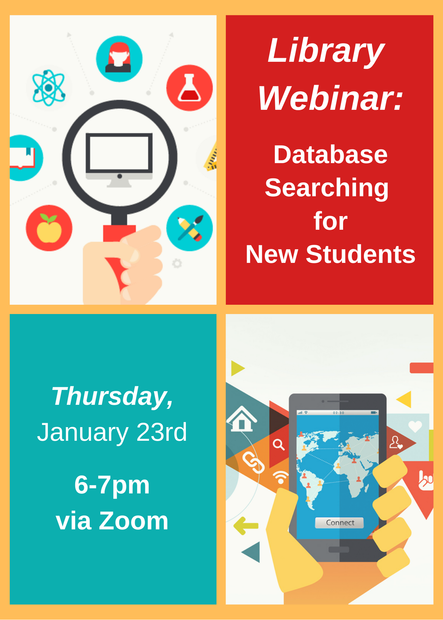 Library Webinar: Database Searching for New Students - Thursday, January 23, 6pm through 7pm. Join Instruction Librarian Jackie Hill for a guided tour of the Moye Library website and the many resources available to you to help make your research easier and more successful.