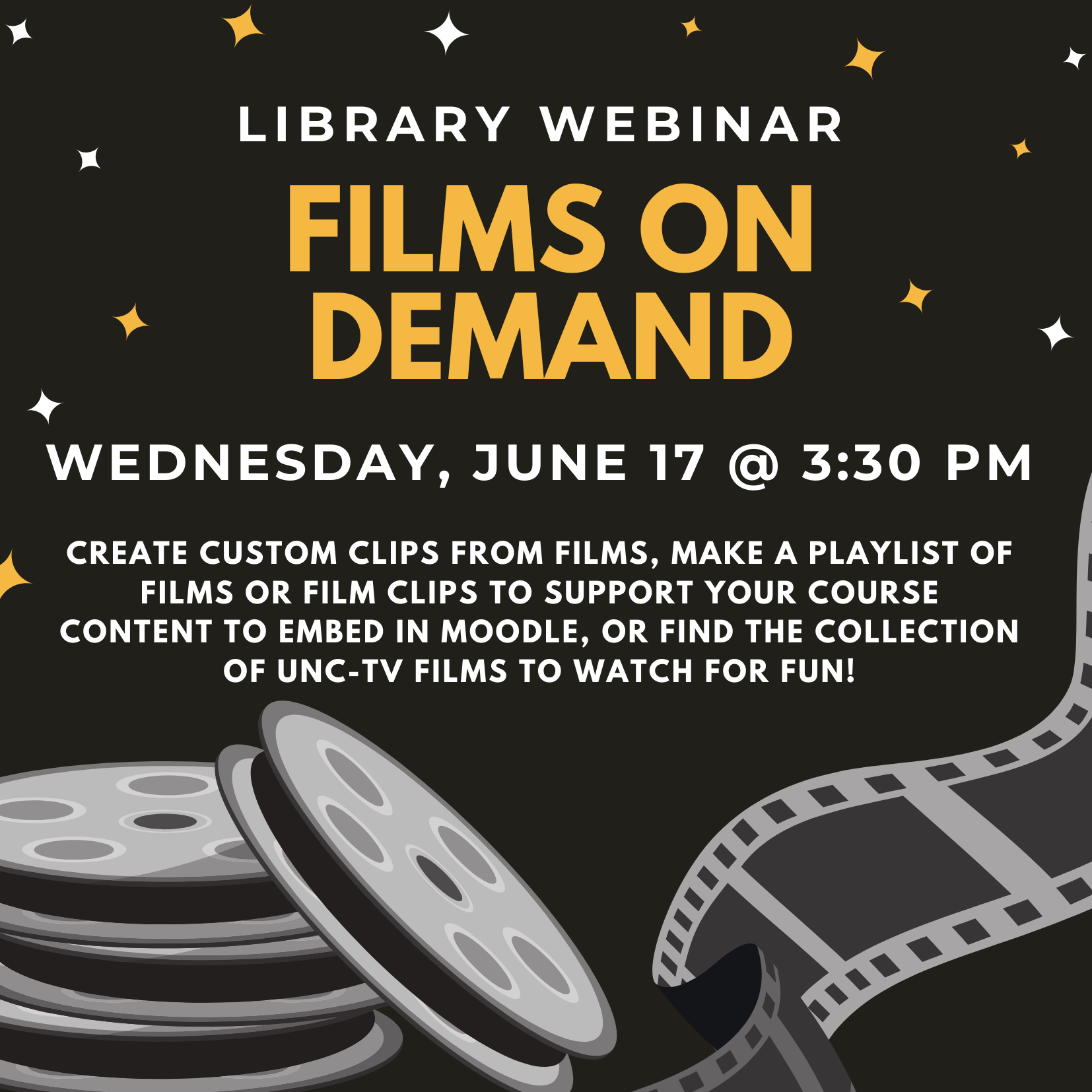 Moye Library, University of Mount Olive. Library Webinar: Films on Demand. Wednesday, June 17 at 3:30pm.
