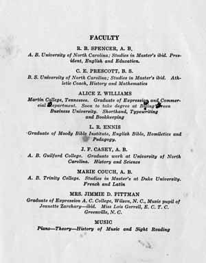 Eureka Catalogue of First Session, 1926-27 Faculty