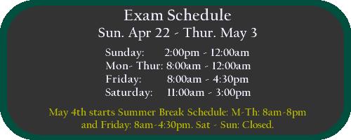 Exam Hours Spring 2018