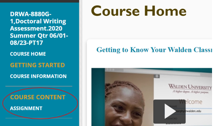 DRWA classroom Course Content, Assignment Link