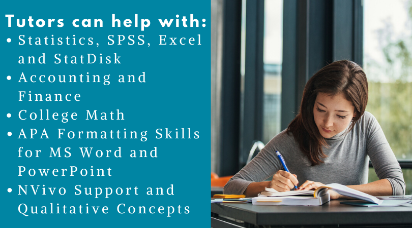 Tutors can help with: statistics, SPSS, Excel, and Statdisk, accounting and finance, college math, APA formatting skills for MS Word and PowerPoint, Nvivo and qualitative concepts