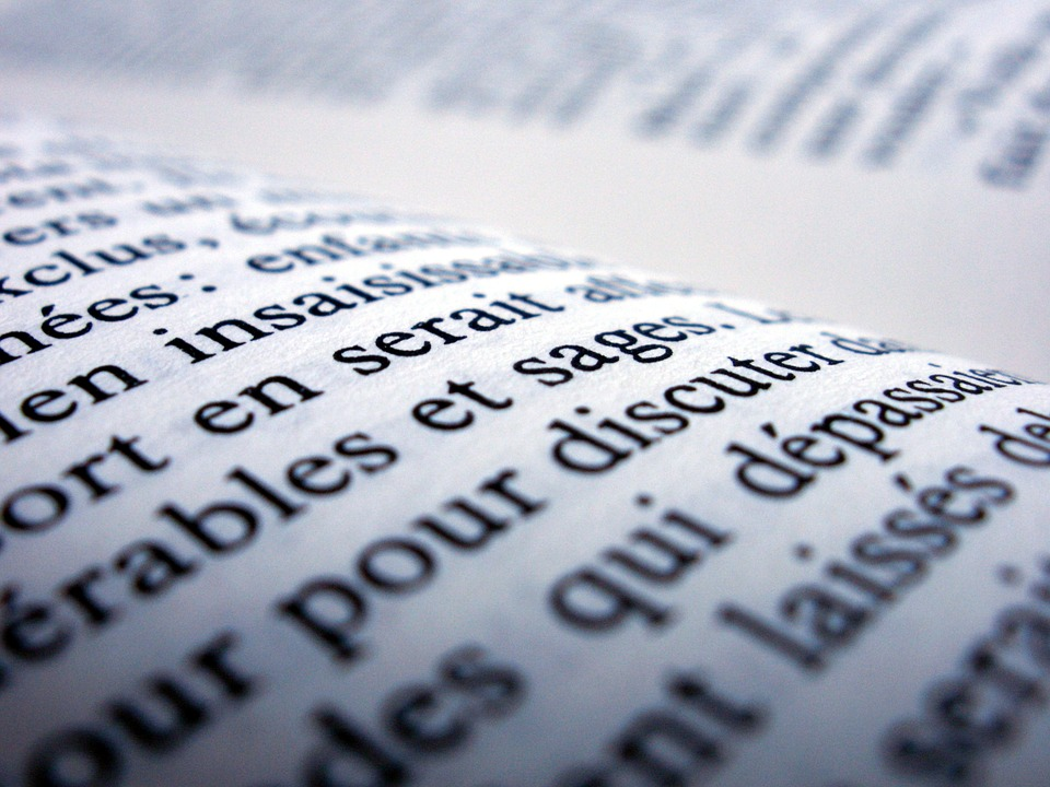 a sample book with french text