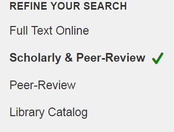 LionSearch limit options showing location of the scholarly and peer review limit
