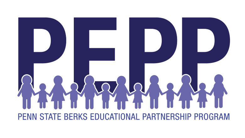 The Pepp program log.  Shows sillohettes of people holding hands in front.  Penn State Berks Educational Partnership Program.