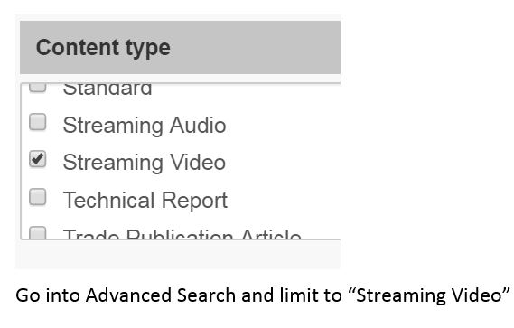 LionSearch database advanced search options showing location of the streaming video limit