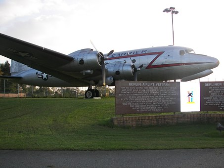 A plane used in the Berlin Airlift sitting on a memorial runway.
