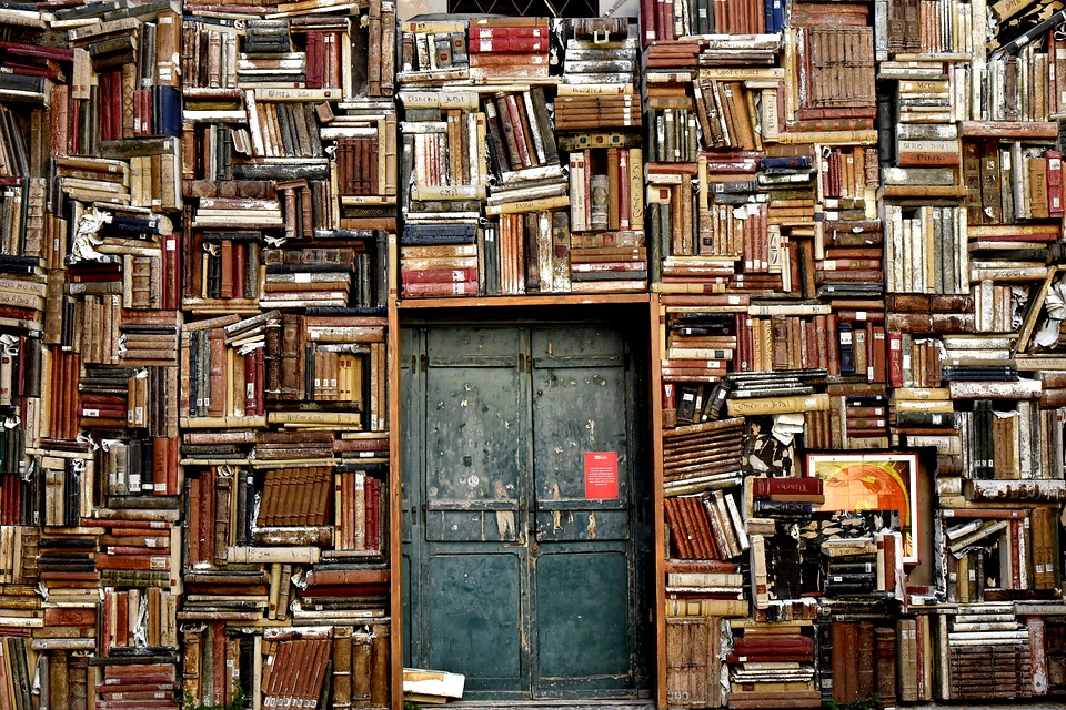 a wall made of books, with a doorway in the center