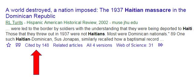 "A google scholar article entitled ""A world destroyed, a nation imposed.""  A red arrow points out a ""cited by 137"" link."
