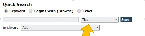 screenshot of the Quick Search in the Cat.  Yellow arrow points at the drop-down box with title search
